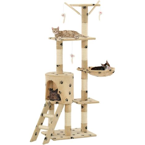 Cat Tree with Sisal Scratching Posts 138 cm Beige Paw Prints