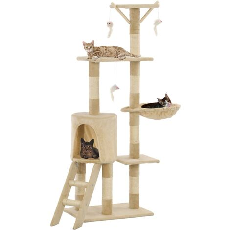 Cat Tree with Sisal Scratching Posts 138 cm Beige