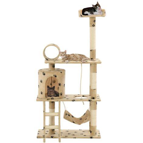 Cat Tree with Sisal Scratching Posts 140 cm Beige Paw Prints - Beige