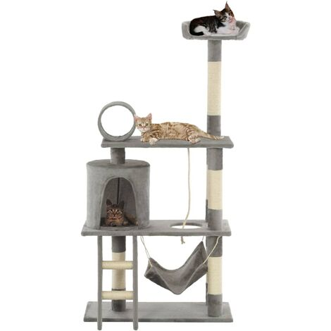 Cat Tree with Sisal Scratching Posts 140 cm Grey - Grey