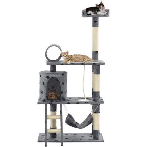 Cat Tree with Sisal Scratching Posts 140 cm Grey Paw Prints - Grey