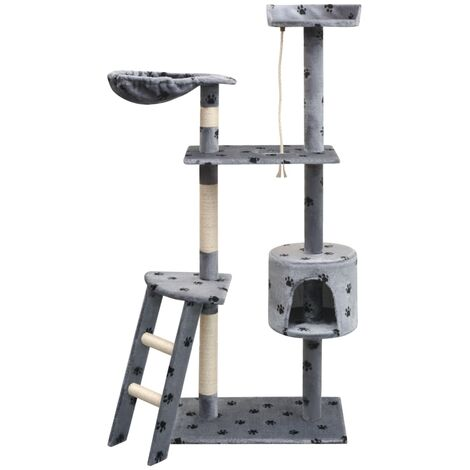 Cat Tree with Sisal Scratching Posts 150 cm Paw Prints Grey - Multicolour