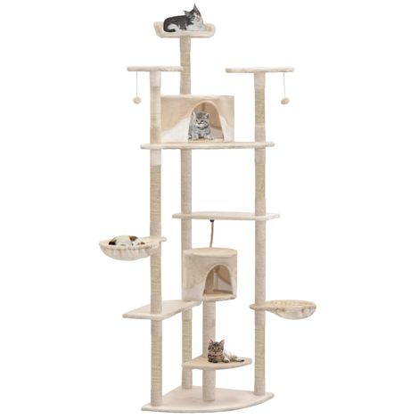 Cat Tree with Sisal Scratching Posts 203 cm Beige and White