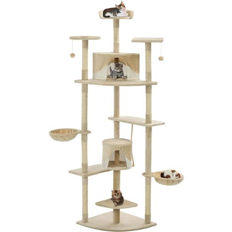 Cat Tree with Sisal Scratching Posts 203 cm Beige and White - Multicolour