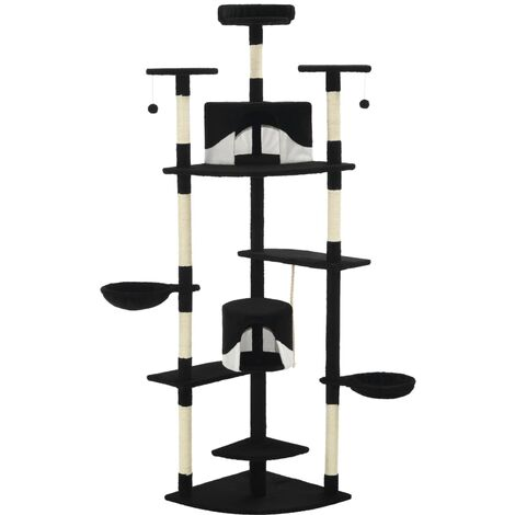 Cat Tree with Sisal Scratching Posts 203 cm Black and White