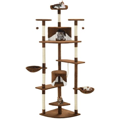 Cat Tree with Sisal Scratching Posts 203 cm Brown and White