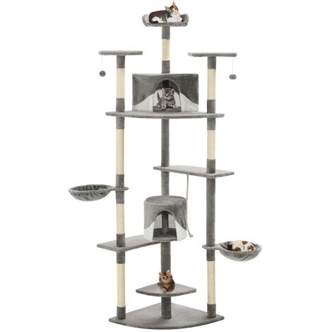 Cat Tree with Sisal Scratching Posts 203 cm Grey and White