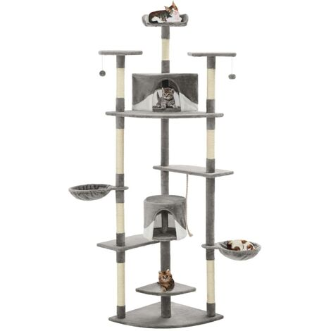 Cat Tree with Sisal Scratching Posts 203 cm Grey and White - Multicolour