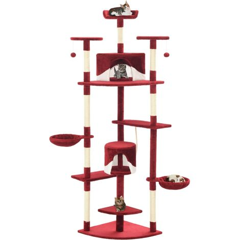 Cat Tree with Sisal Scratching Posts 203 cm Red and White - Multicolour