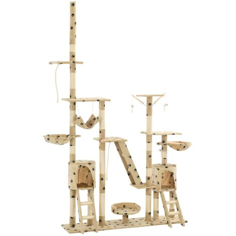 Cat Tree with Sisal Scratching Posts 230-250 cm Paw Prints Beige