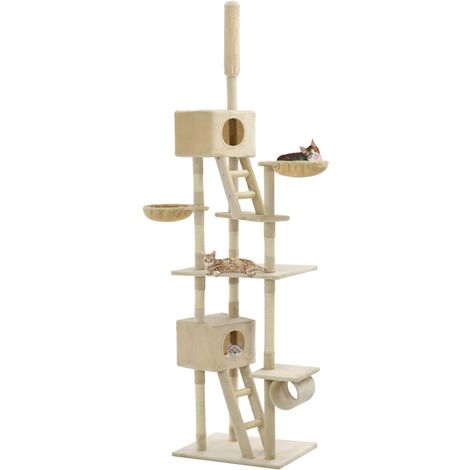 Cat Tree with Sisal Scratching Posts 230-260 cm Beige