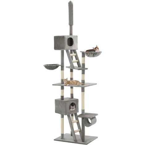 Cat Tree with Sisal Scratching Posts 230-260 cm Grey