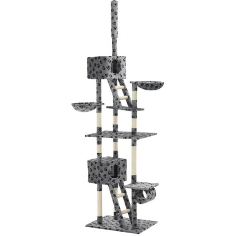 Cat Tree with Sisal Scratching Posts 230-260 cm Grey Paw Prints