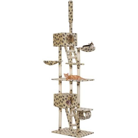 Cat Tree with Sisal Scratching Posts 230-260cm Beige Paw Prints