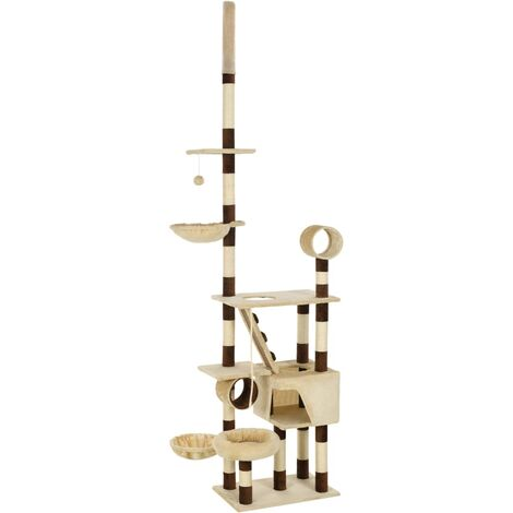 Cat Tree with Sisal Scratching Posts 246-280 cm Beige and Brown