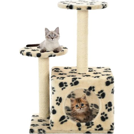 cedb5e730873 Cat Tree with Sisal Scratching Posts 60 cm Beige Paw Prints -