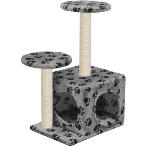 5900b1a9910f Cat Tree with Sisal Scratching Posts 60 cm Grey Paw Prints