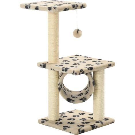 Cat Tree with Sisal Scratching Posts 65 cm Beige Paw Print