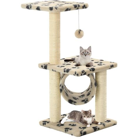 Cat Tree with Sisal Scratching Posts 65 cm Beige Paw Print - Beige