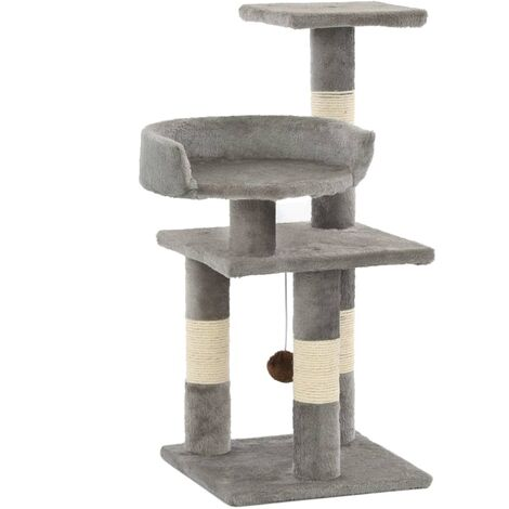 Cat Tree with Sisal Scratching Posts 65 cm Grey - Grey