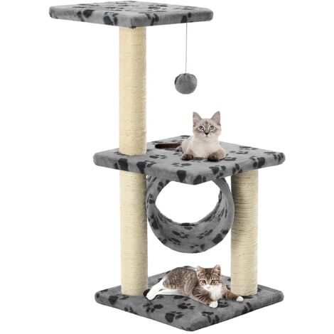 Cat Tree with Sisal Scratching Posts 65 cm Grey Paw Print - Grey