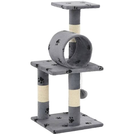 c28c9ef32cd5 Cat Tree with Sisal Scratching Posts 65 cm Grey Paw Prints -