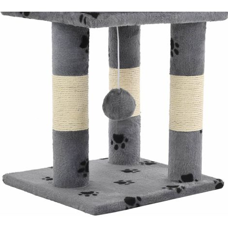 Cat Tree with Sisal Scratching Posts 65 cm Grey Paw Prints