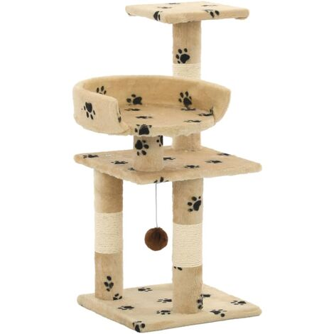 Cat Tree with Sisal Scratching Posts 65 cm Paw Prints Beige - Beige