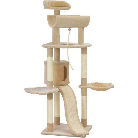 Cat Tree with Sisal Scratching Posts Beige 145 cm