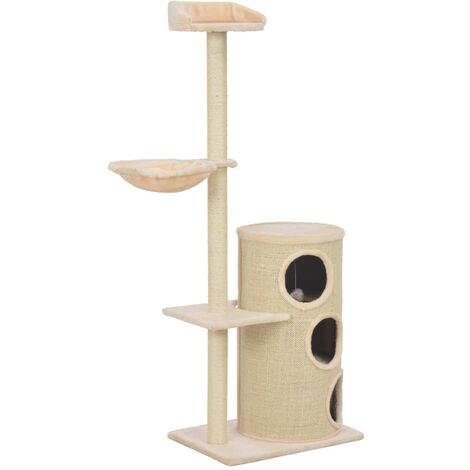 Cat Tree with Sisal Scratching Posts Beige 148 cm