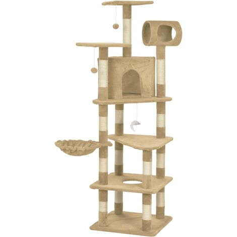 Cat Tree with Sisal Scratching Posts Beige 165 cm