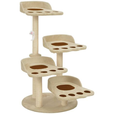 Cat Tree with Sisal Scratching Posts Beige 90 cm