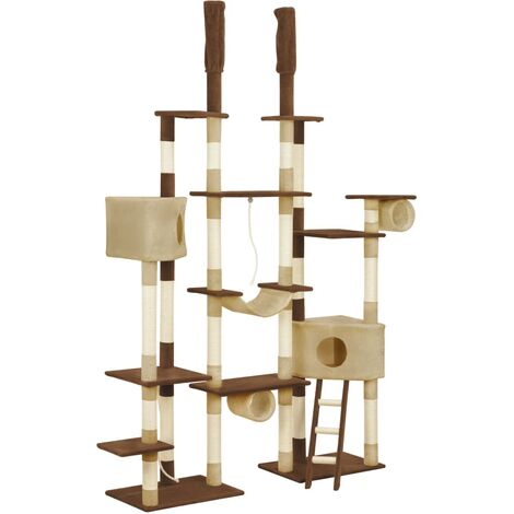 Cat Tree with Sisal Scratching Posts Brown 234 cm