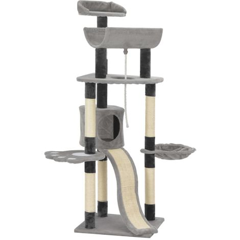 Cat Tree with Sisal Scratching Posts Grey 145 cm