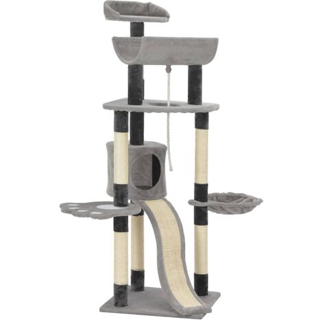 Cat Tree with Sisal Scratching Posts Grey 145 cm - Grey