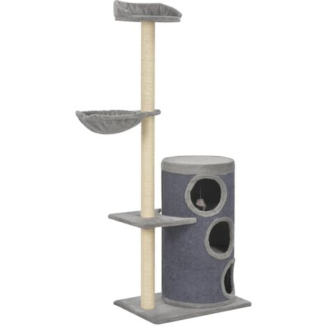 Cat Tree with Sisal Scratching Posts Grey 148 cm - Grey