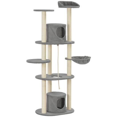 Cat Tree with Sisal Scratching Posts Grey 160 cm
