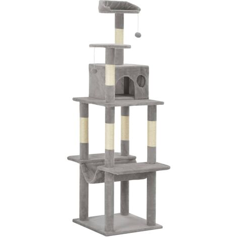 Cat Tree with Sisal Scratching Posts Grey 165 cm - Grey