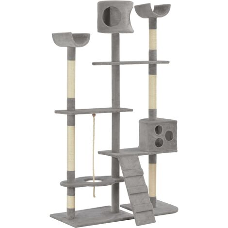 Cat Tree with Sisal Scratching Posts Grey 180 cm