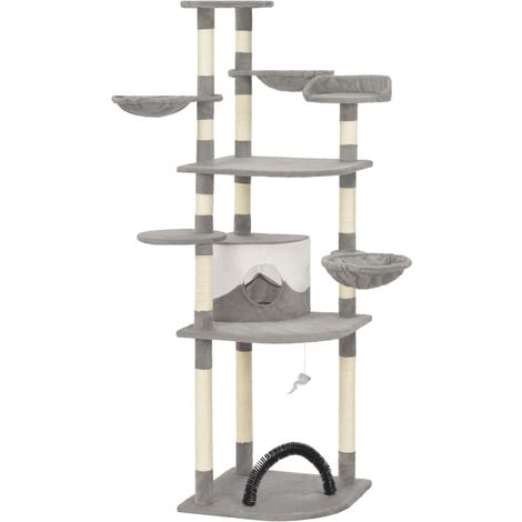 Cat Tree with Sisal Scratching Posts Grey 189 cm - Grey