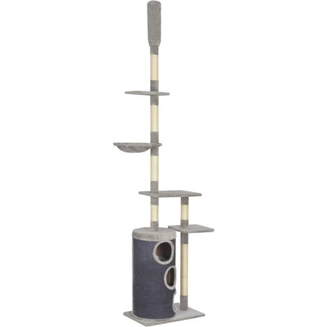 Cat Tree with Sisal Scratching Posts Grey 260 cm