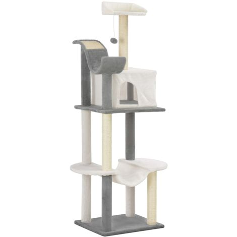 Cat Tree with Sisal Scratching Posts Grey and White 155 cm