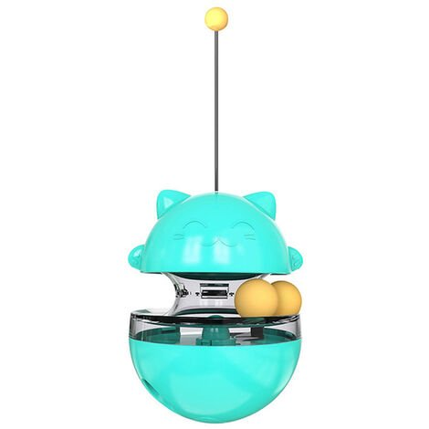 Cat Tumbler Toys Cat Interactive Toy Cat Food Balls Slow Feeder with Teasing Wand Blue