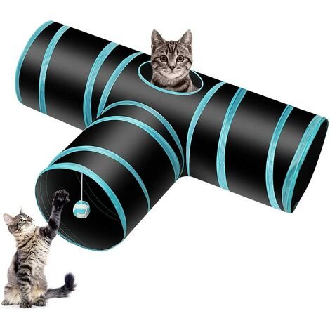 Cat tunnel chat, pet tunnel rabbit tunnel toy foldable 3-way tube, suitable for cats, rabbits, dogs, pets, fishing rod with toys for cats-blue and black