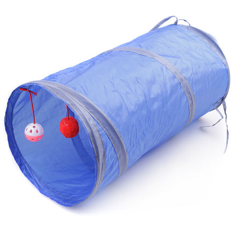 Cat Tunnel Interactive Play Toy with Ringbell Ball Blue