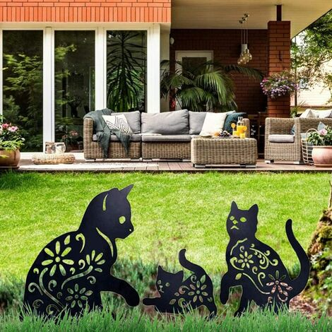 Cat Yard Art Garden Decorative Metal Statues, 3 PIECES Cat Hollow Out Silhouette Animal Shape Stake Decorations, Black