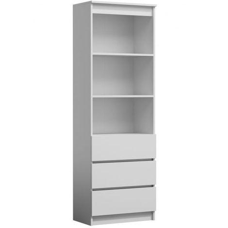 CATANIA | Meuble de rangement avec casiers bureau/salon/chambre 180x60x35 | Bibliothèque contemporaine | Etagères livres déco | blanc