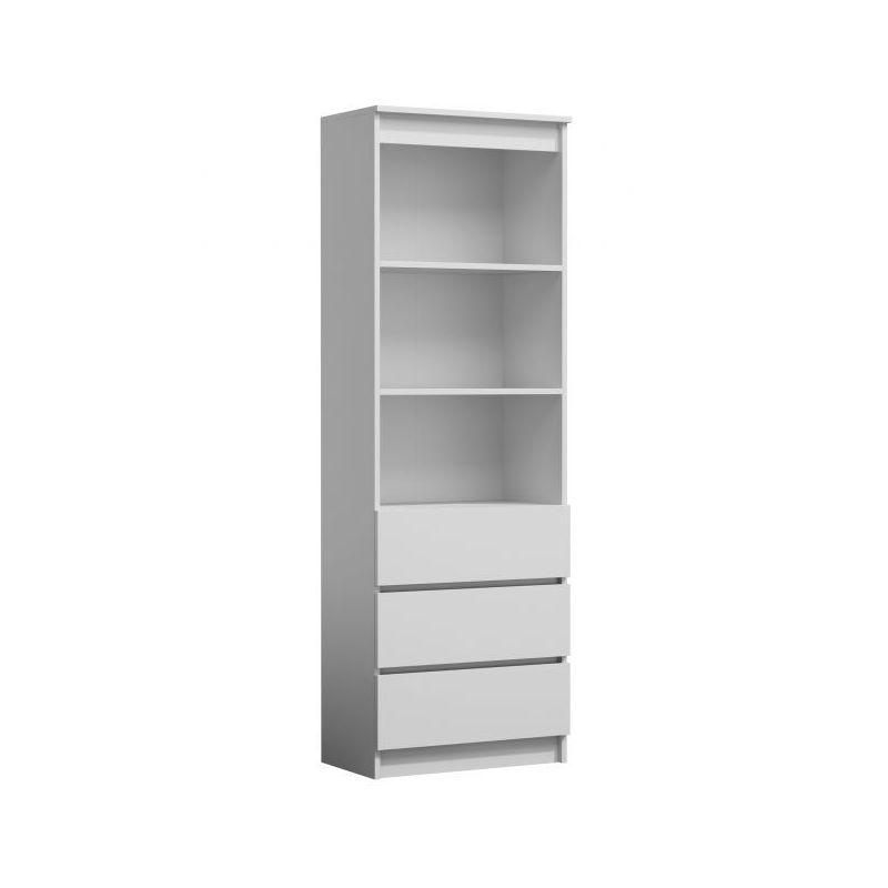 Catania Meuble De Rangement Avec Casiers Bureau Salon Chambre 180x60x35 Bibliotheque Contemporaine Etageres Livres Deco Blanc Blanc Top Rs60