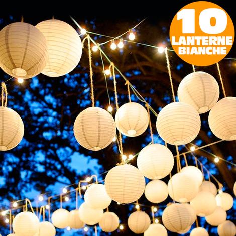 Lanterne Bianche Da Esterno.Catena Luminosa 10 Lanterne Bianche 20 Led Sfere Illuminazione