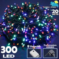 Catena Luminosa 300 Luci LED Lucciole MULTICOLORE Controller 8 Funzioni Esterno